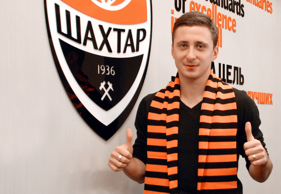 Georgian forward David Targamadze, paraded in the colours of Shakhtar for whom he is still yet to play.