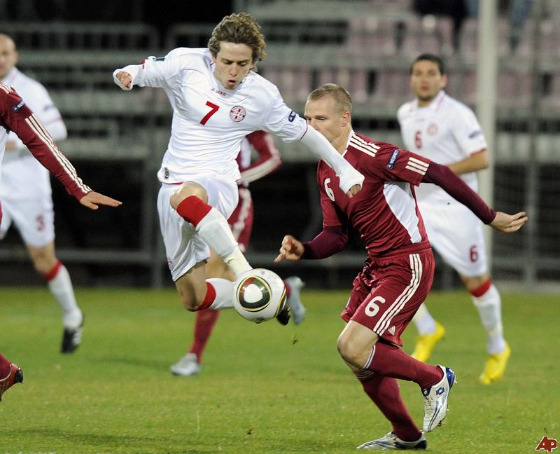 Ananidze starring in Euro 2012 qualifier for Georgia against Latvia.