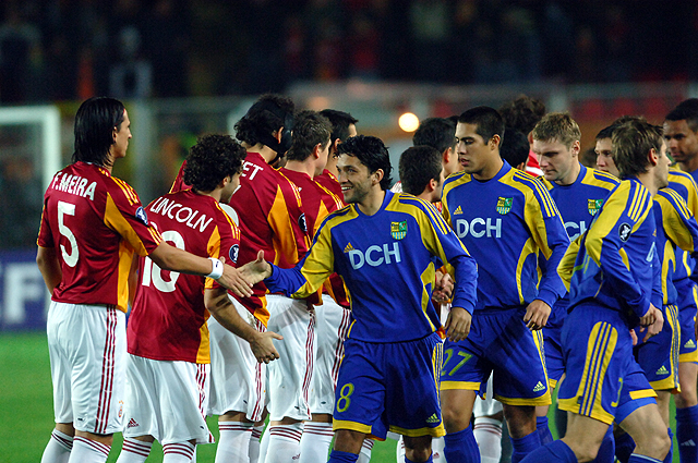 On the back of the now scandalised 2008 league campaign, Metalist Kharkiv competed well in the UEFA Cup, defeating Besiktas and Galatasaray (pictured) in the early stages