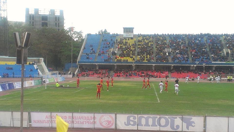 The familiar sight of first-half Tajik celebrations