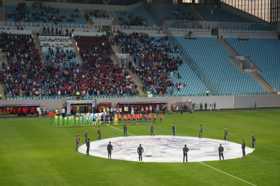 Russian Premier League with its typical pre-game ceremony.
