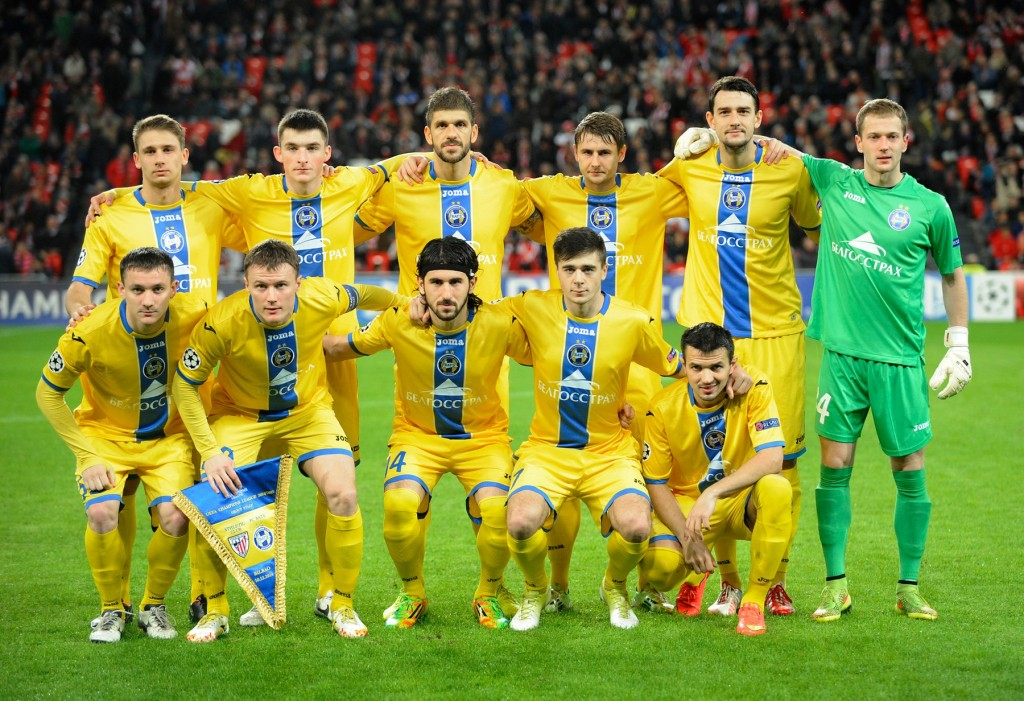 Bate Borisov's players pose before the UEFA Champions League Group H football match last season