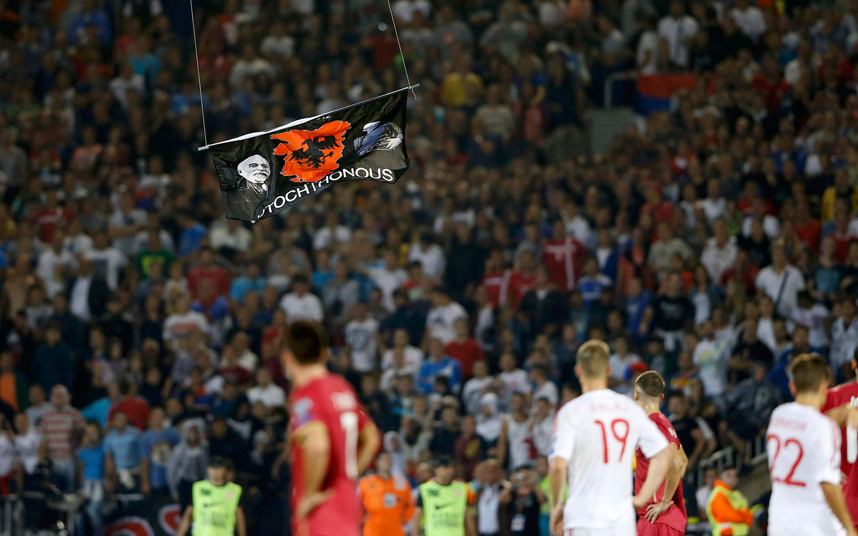 The drone carrying the flag of greater Albania - Image via telegraph.co.uk