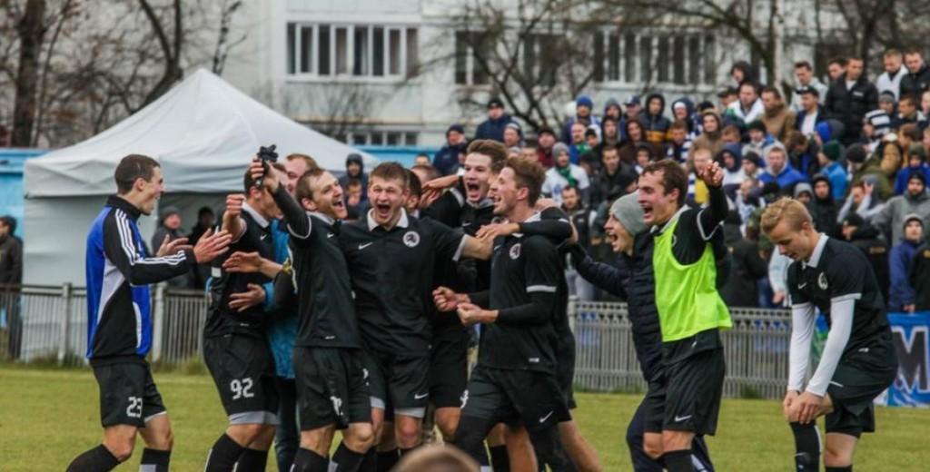 FC Krumkachy celebrating an unlikely promotion - Image via euroradio.fm