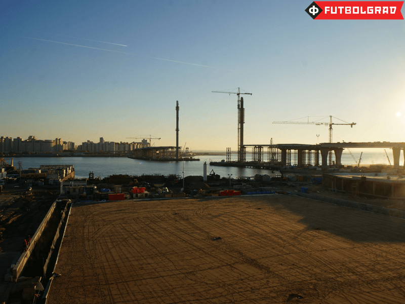 In the picture a new bridge that will connect the stadium to Saint Petersburg's new ring road