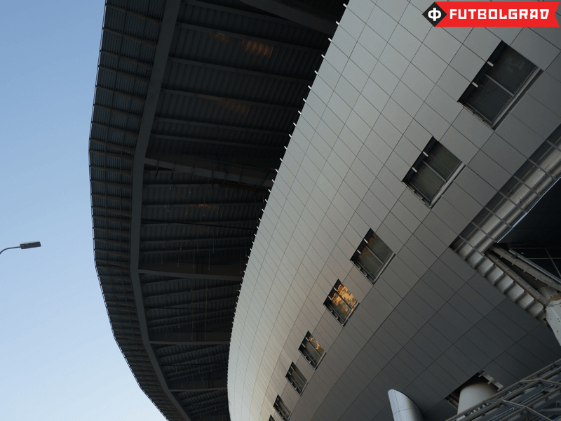 The aluminum facade of the stadium. Not in the picture the cracks...