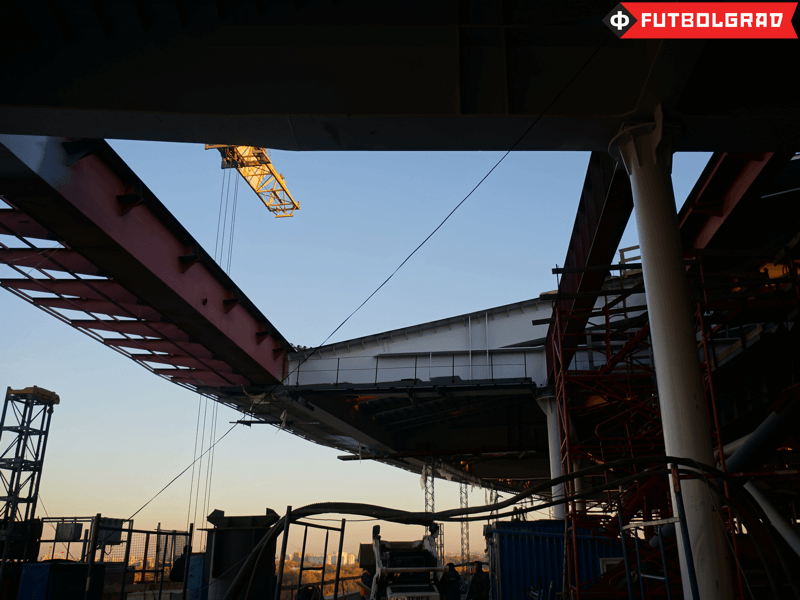 The massive steel beams of the stadium