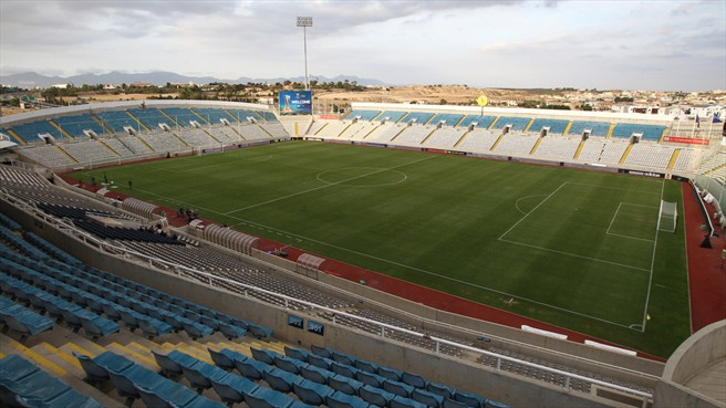 Apollon Limassol's stadium. The club plays an important role in Zahavi's football empire - Image via UEFA.com