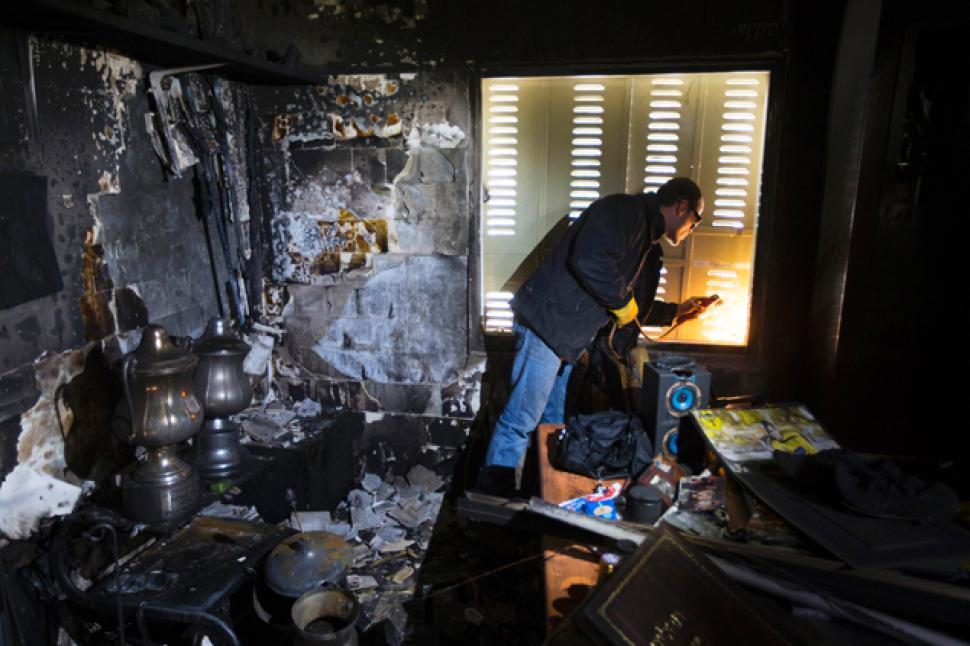 Beitar's trophy room after the fire - Image via abc