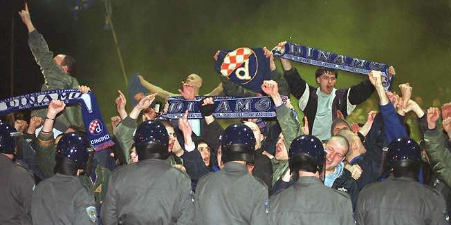 Valentines Day 2000. Fans protesting in favour of naming the club Dinamo - Image via abc