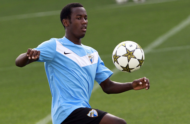 Olinga during a Malaga training session - Image via abc