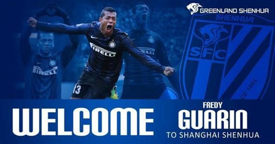 Fredy Guarín moved from Inter Milan to Shanghai Greenland Shenhua - Image via Shanghai