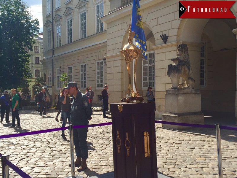 The Ukrainian Cup presented on Rynok Square in the centre of Lviv