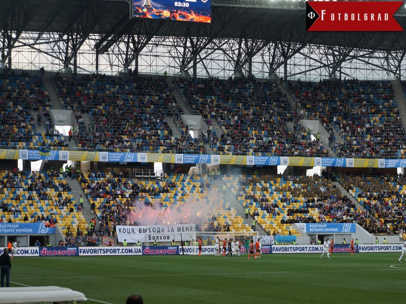 Shakhtar fans with flares, we wonder how they managed to get those in...