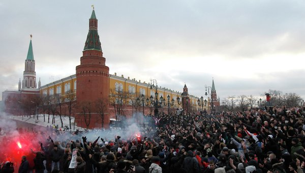 On 11 December, 2010, football supporters took to the capital's central streets protesting at what they saw as the authorities' inadequate investigations into the murder of Egor Sviridov.
