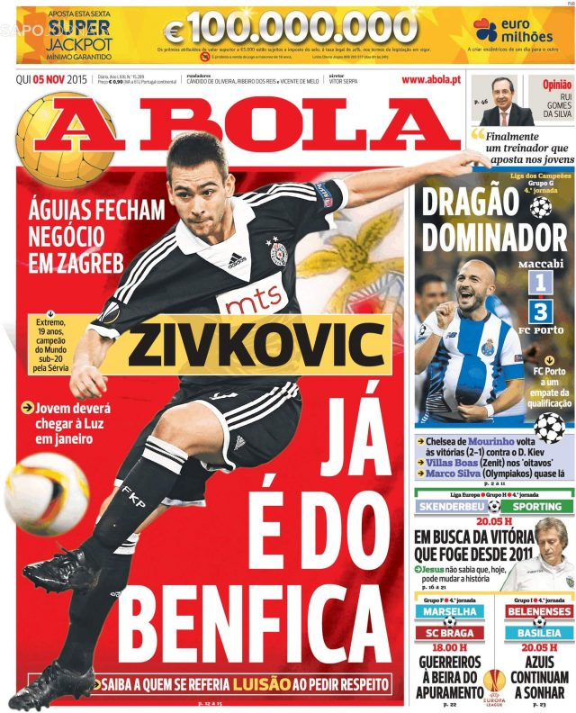 A Bola - Andrija Živković Already at Benfica