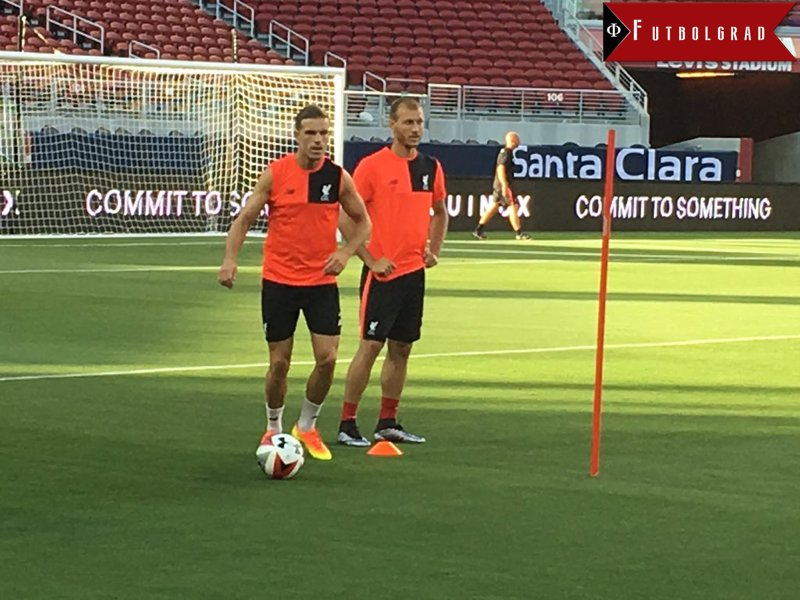 Ragnar Klavan (r.) during Liverpool's summer tour in the United States