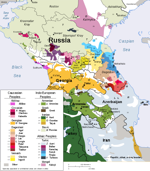 The ethnic makeup of the Caucasus - Vectorisation of CIA map CC-BY-SA-3.0-migrated