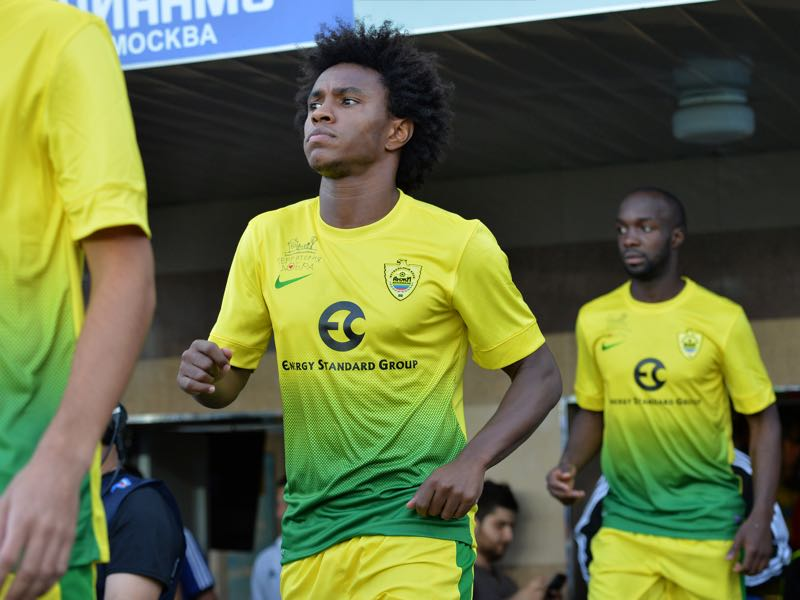 Willian of FC Anzhi Makhachkala walks onto the field during the Russian Premier League match between FC Dinamo Moscow and FC Anzhi Makhachkala at the Arena Khimki Stadium on July 19, 2013 in Khimki, Russia. (Photo by Epsilon/Getty Images)