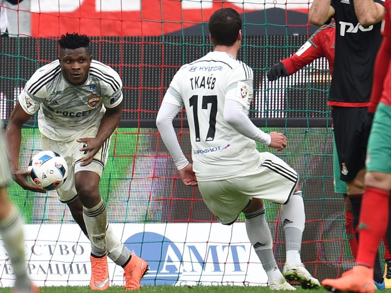 Aaron Olanare of PFC CSKA Moscow celebrates after scoring a goal during the Russian Premier League ma tch between FC Lokomotiv Moscow and PFC CSKA Moscow on April 16, 2016 at Lokomotiv stadium in Moscow, Russia. (Photo by Epsilon/Getty Images)