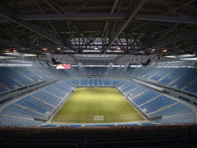 A picture taken on December 29, 2016 shows a view of the inside of Krestovsky football stadium, also known as Zenit Arena and currently under construction for the 2018 FIFA World Cup, in Saint Petersburg. The 21st FIFA World Cup is scheduled to take place from June 14 to July 15, 2018 in Russia. For the World Cup, the stadium's name will be changed to Saint Petersburg Stadium. / AFP / OLGA MALTSEVA (Photo credit should read OLGA MALTSEVA/AFP/Getty Images) Deloitte Football Money League
