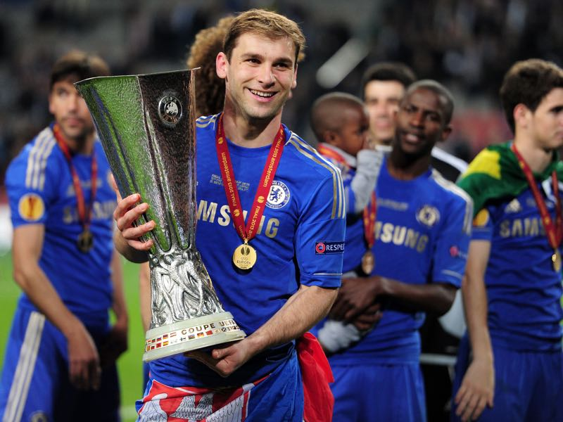 Branislav Ivanovic of Chelsea poses with the trophy during the UEFA Europa League Final between SL Benfica and Chelsea FC at Amsterdam Arena on May 15, 2013 in Amsterdam, Netherlands. (Photo by Jamie McDonald/Getty Images)