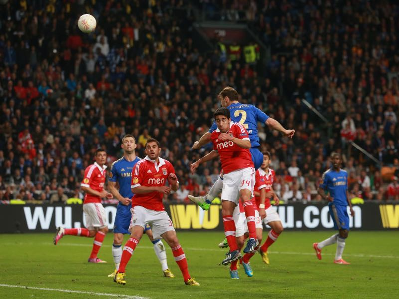 Branislav Ivanović of Chelsea rises up to head in their second goal during the UEFA Europa League Final between SL Benfica and Chelsea FC at Amsterdam Arena on May 15, 2013 in Amsterdam, Netherlands. (Photo by Scott Heavey/Getty Images)