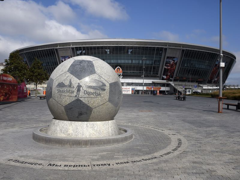 A picture taken on September 16, 2014 in Donetsk shows the Donbass arena stadium, the home stadium of Shakhtar Donetsk football club, eastern Ukraine. AFP PHOTO/PHILIPPE DESMAZES (Photo credit should read PHILIPPE DESMAZES/AFP/Getty Images)