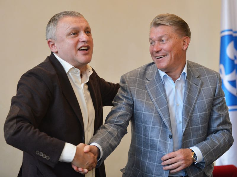 FC Dynamo Kiev president Igor Surkis (L) voted against Veres becoming a UPL side. (SERGEI SUPINSKY/AFP/GettyImages)