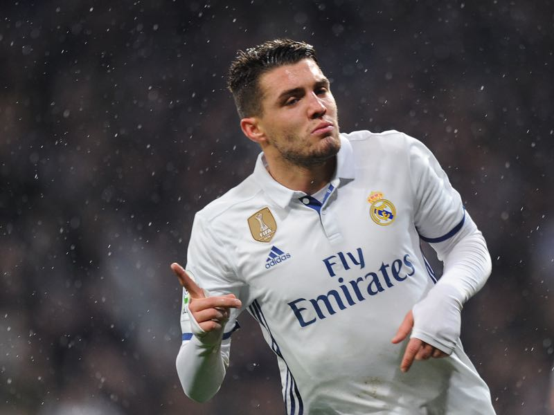 Mateo Kovacic of Real Madrid celebrates after scoring Real's 1st during the La Liga match between Real Madrid CF and Real Sociedad de Futbol at the Bernabeu on January 29, 2017 in Madrid, Spain. (Photo by Denis Doyle/Getty Images)