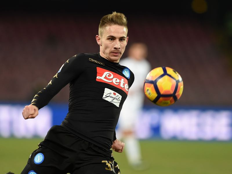 Marko Rog of SSC Napoli in action during the TIM Cup match between SSC Napoli and AC Spezia at Stadio San Paolo on January 10, 2017 in Naples, Italy. (Photo by Francesco Pecoraro/Getty Images)