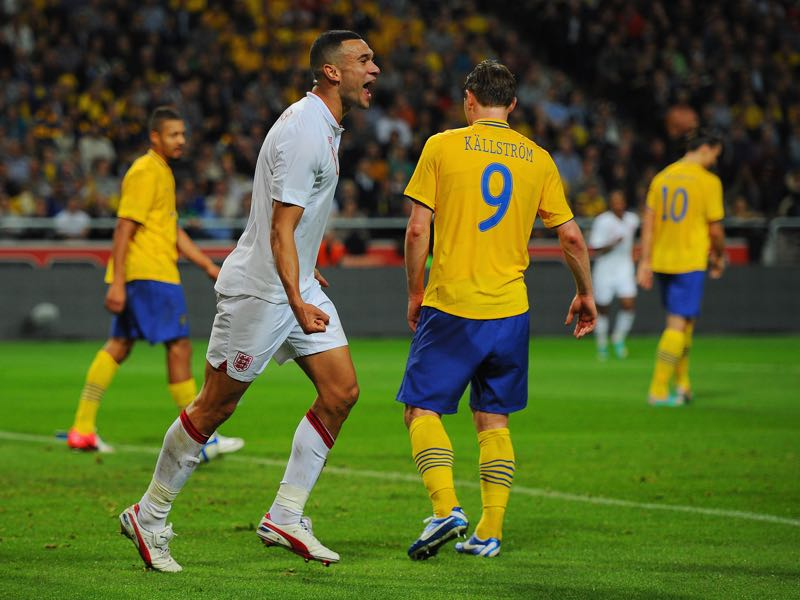 Steven Caulker of England celebrates scoring to make it 2-1 during the international friendly match between Sweden and England at the Friends Arena on November 14, 2012 in Stockholm, Sweden. (Photo by Michael Regan/Getty Images)