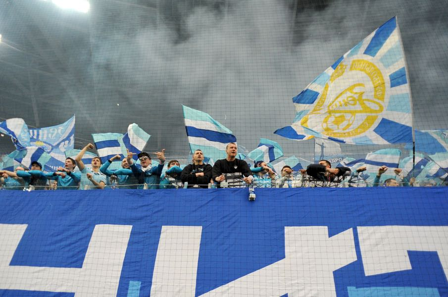 Can Zenit supporters keep up their fierce support in the Krestovsky Stadium? (OLGA MALTSEVA/AFP/Getty Images)
