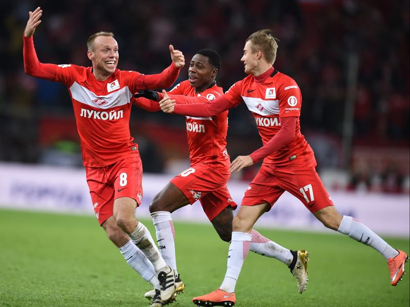 Denis Glushakov (l.) and Quincy Promes celebrate a goal early this season. Glushakov will be back for the Moscow Derby after serving a one match suspension. (Photo by Epsilon/Getty Images)