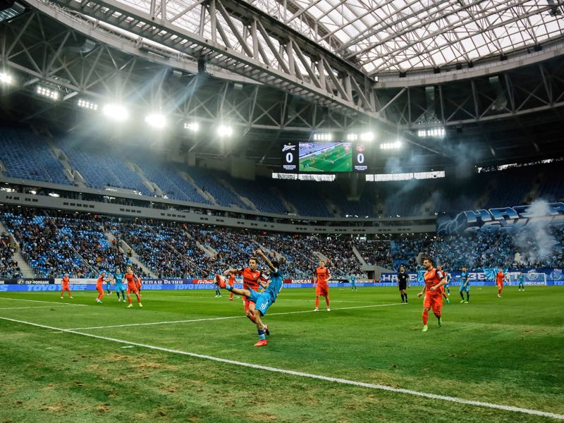 The Krestovsky Stadium was finally opened this weekend when Zenit hosted Ural Yekaterinburg. (Photo by Epsilon/Getty Images)