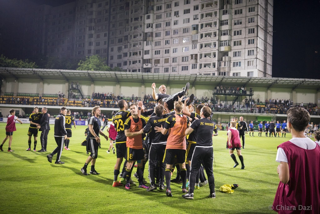 Sheriff players celebrate another Moldovian championship. Image by Chiara Dazi.
