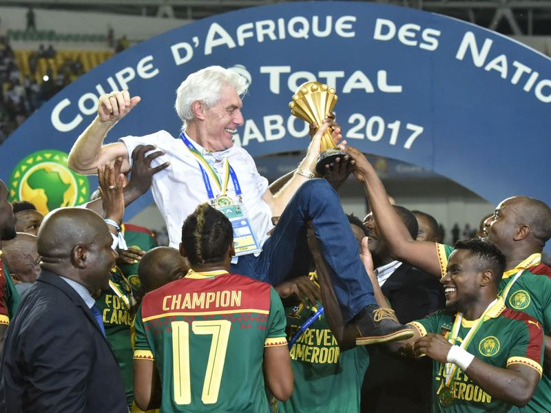 Hugo Broos guided Cameroon to the 2017 Africa Cup triumph. Rigobert Song of Cameroon and Marcel Desailly of France both hold the winning trophy after the 2003 FIFA Confederations Cup Final between France and Cameroon. (Photo by ISSOUF SANOGO/AFP/Getty Images)