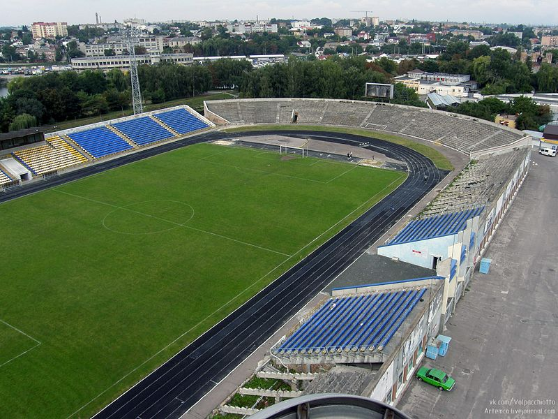Veres' nominal home-ground, the Avanhard Stadium in Rivne, is currently not suitable for UPL games. Image be Artemco CC-BY-SA-3.0