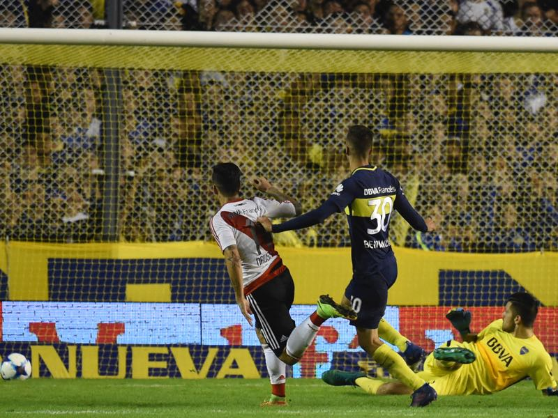 Sebastian Driussi scores in the derby against Boca Juniors. (EITAN ABRAMOVICH/AFP/Getty Images)