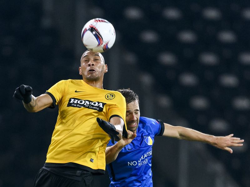 Guillaume Hoarau (L) is Young Boys most experienced player. (FABRICE COFFRINI/AFP/Getty Images)