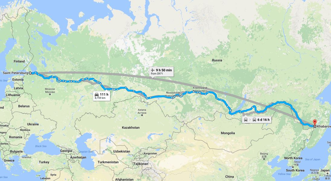 The distance from Saint Petersburg to Khabarovsk. (Google Maps)