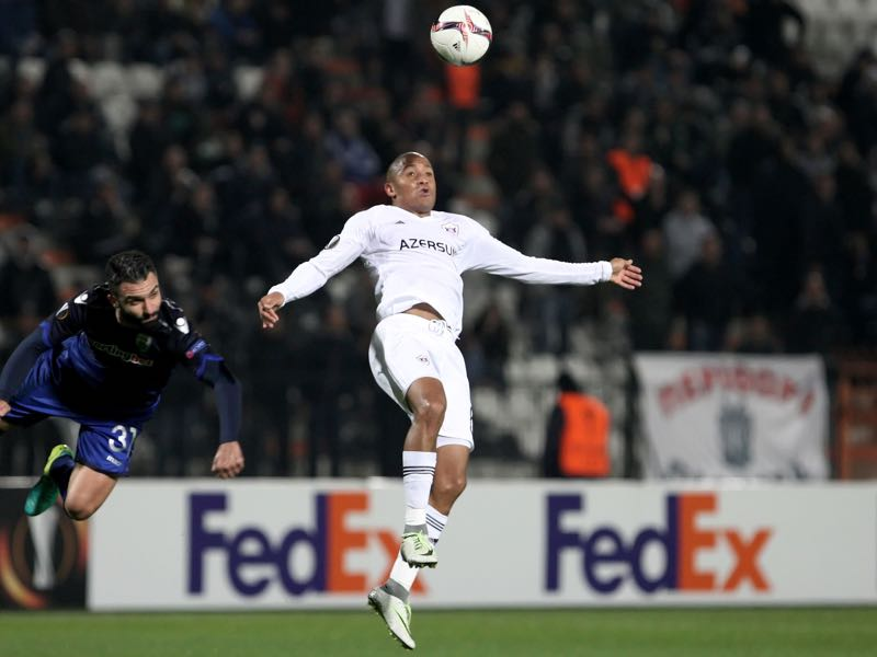 Daniel Ndlovu was the hero for Qarabag against København. (SAKIS MITROLIDIS/AFP/Getty Images)