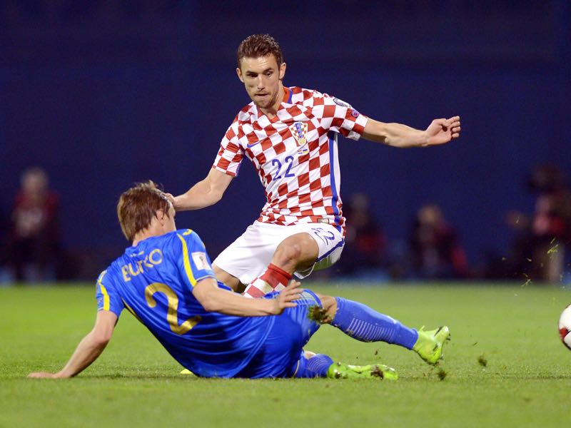 Josip Pivarić here in action for Croatia against his new home Ukraine.  (STRINGER/AFP/Getty Images)