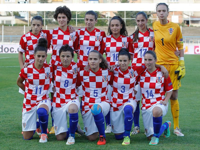 Croatia's women's football national team ahead of a qualification match against Germany.(Photo by Srdjan Stevanovic/Bongarts/Getty Images)