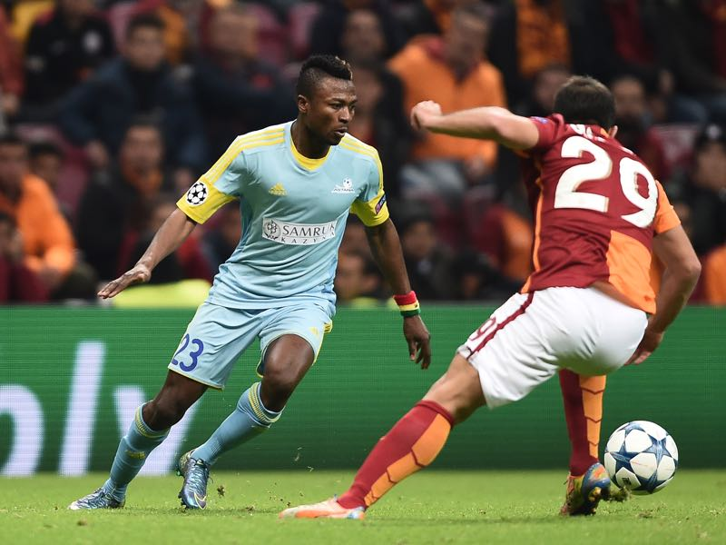 Patrick Twumasi (l.) is one of two exciting strikers Astana have at their disposal. (OZAN KOSE/AFP/Getty Images)