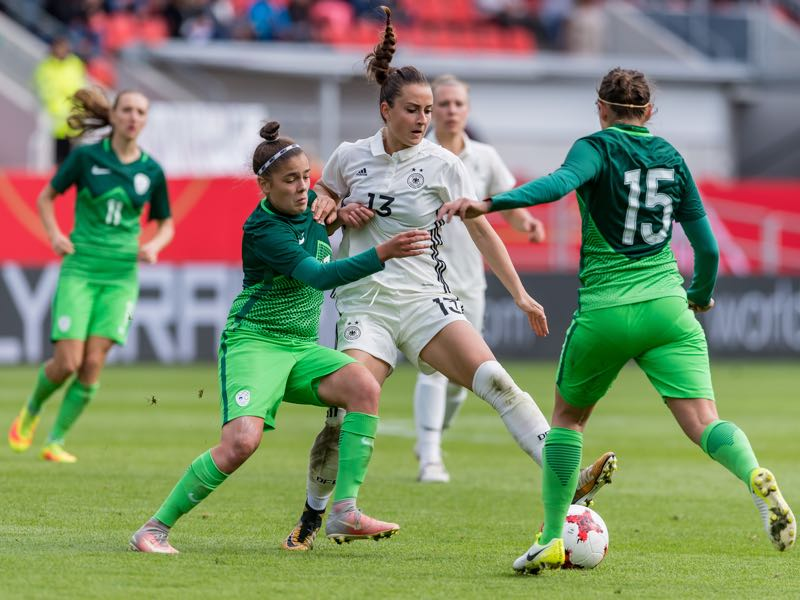Slovenia women's football national team in action against Germany. (Photo by Alexander Scheuber/Bongarts/Getty Images)