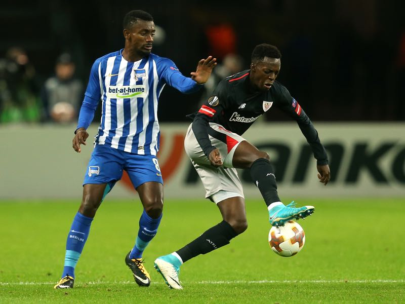 Iñaki Williams (r.) in action against Hertha Berlin on matchay 1 of the UEFA Europa League. (Photo by Matthias Kern/Bongarts/Getty Images)