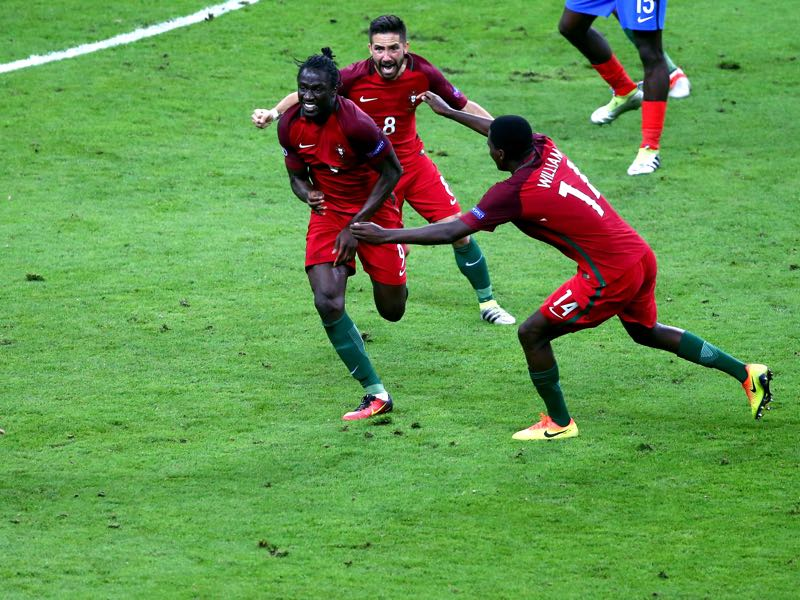 Éder just moments after he scored the game winning goal against France at Euro 2016. (Photo by Alex Livesey/Getty Images)
