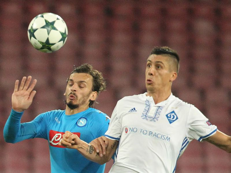 Dynamo Kyiv defender Yevhen Khacheridi (r.) will be Ukraine's key player on Monday against Croatia. (CARLO HERMANN/AFP/Getty Images)
