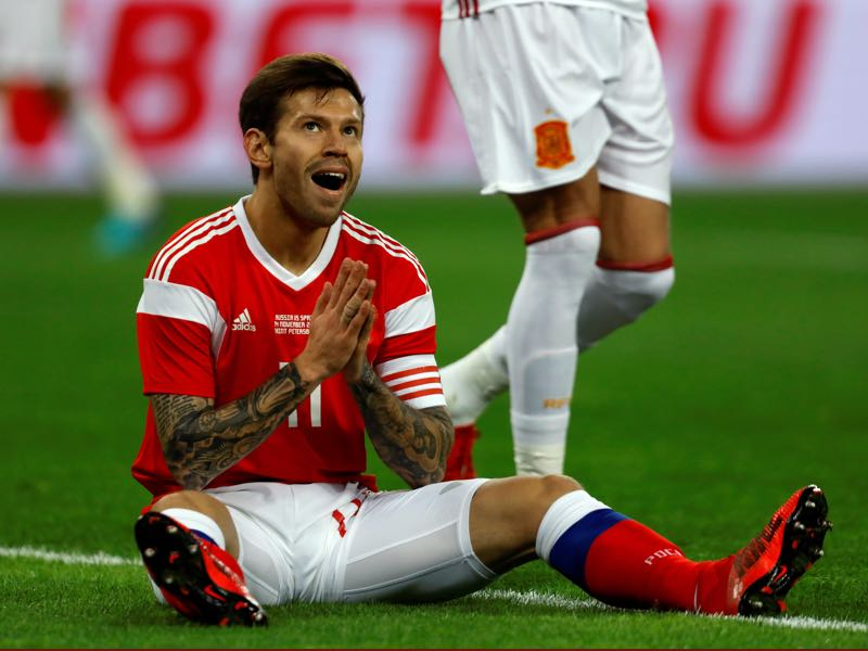 Russia v Spain - Fedor Smolov picked up the man of the match award. (Photo by Epsilon/Getty Images)